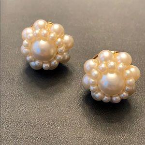 Faux Pearl Cluster Earrings (Vintage)